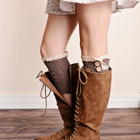 Lace Trim 2 Button Cable Knit Boot Cuffs Mocha Ankle Socks