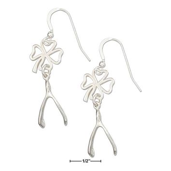 STERLING SILVER LUCKY FOUR LEAF CLOVER AND WISHBONE EARRINGS 0457036dee