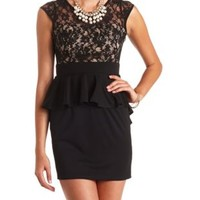 Lace-Topped Bodycon Peplum Dress by Charlotte Russe - Black Combo
