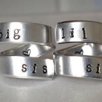 Lil Sis / Big Sis  Set of Two Aluminum Twist Wrap Rings - Hand Stamped