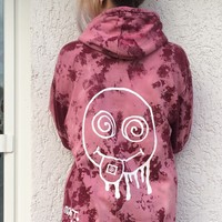 acid smiley hoodie, sweatshirt, acid washed, tie dye, festival, psychedelic, drugs, lsd, moot