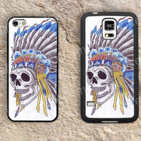 Skull indian head dress iphone 4 4s iphone  5 5s iphone 5c case samsung galaxy s3 s4 case s5 galaxy note2 note3 case cover skin 101