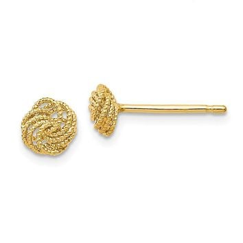 6mm (1/4 Inch) 14k Yellow Gold Textured Love Knot Stud Earrings