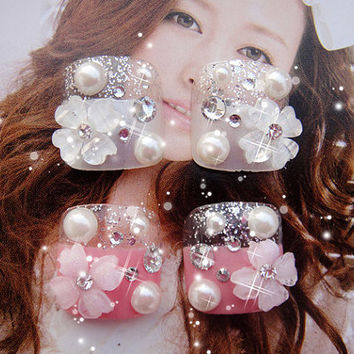 kawaii DIY japanese gyaru fake toes nails art.  you can choose the silver or pink.