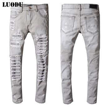New Italy Style #515# Mens Distressed Destroy Ribbed Patches Rips Pants Stretch Skinny Grey Jeans Slim Trousers Size 29-42