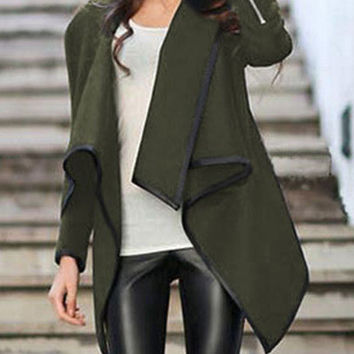 Green Wrap Asymmetrical Coat Trendy Green Jacket