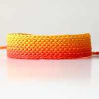 Orange Friendship Bracelet Ombre Bracelet Wide by itsmemary