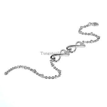 2015 New Fashion Stainless Steel Silver Double infinity bracelets for women Charm Bracelets for Girls Ladies 22-24cm adjustable