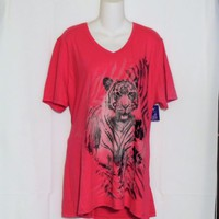 Just My Size Plus Size 2X Tee Shirt Pink Tiger Graphics