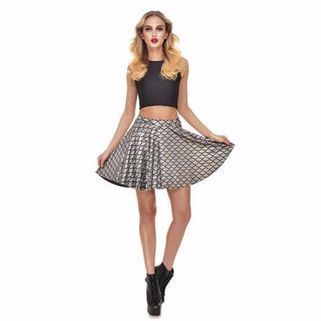 Silver Mermaid Print Skater Skirt