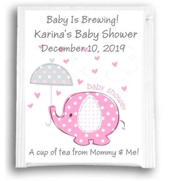 10 Elephant Baby Shower Tea Favors Pink