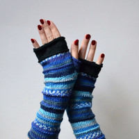 Blue Fingerless Gloves - Gift - Merino Wool Fingerless Gloves - Wool Arm warmers - Fingerless gloves - Fashion Gloves   nO 55.