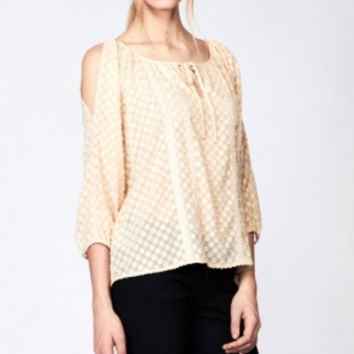 Lexy Pindot Blouse in Cream