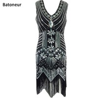 Women 1920's Style Flapper Vintage Gatsby Charleston Vestidos Sexy Party Dress Sequins Tassel Dress Deep V Neck Vest Dresses