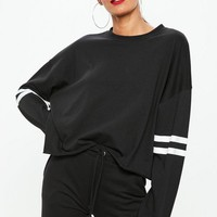 Missguided - Black Drop Shoulder Boxy Stripe Top