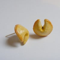 Food Jewelry Fortune Cookie Miniature Food Earrings - Miniature Food Jewelry, Handmade Jewelry,Mini Food Jewelry,Lucky Earrings,Chinese Food