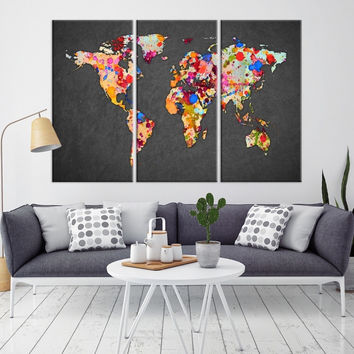 84446 - Large Wall Art World Map Watercolor Canvas Print - Splashed World Map Canvas Print - Large Travel Map