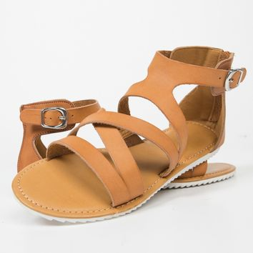 Strappy Contrast Buckled Sandals - 6