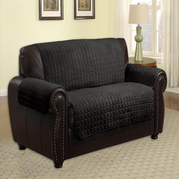 Microfiber Quilted Pet Furniture Protector Loveseat 88 x 76 - Black