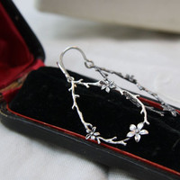 Twig and flower sterling earrings. Woodland earrings.