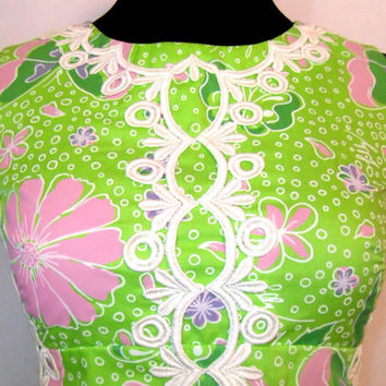 60s Lilly Pulitzer Floral Sheath Dress, Vintage Designer Mod Maxi Green with Pink Flowers and Butterflies Size 4
