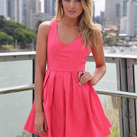 Slim Bow Know Back Pleated Dress
