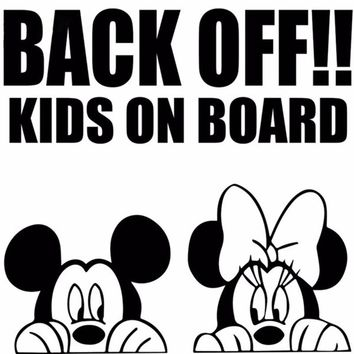 Back off kids on board cartoon car sticker Mickey Minnie mouse car window bumper wall decal sticker graphic