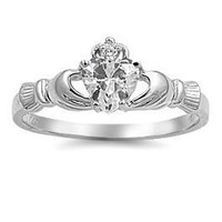 Clear CZ Silver Claddagh Ring