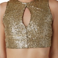 Sequin Party Keyhole Crop Top