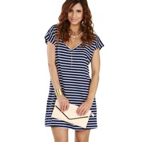 Sale- Navy Any Time Striped Tunic
