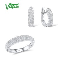 VISTOSO Jewelry Sets For Woman White Cubic Zirconia Stones Jewelry Set Earrings Ring 925 Sterling Silver Fashion Fine Jewelry