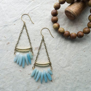 Mint Boho earrings, amazonite, mint green, chain earrings, brass, natural gemstone, gifts for her, gifts under 50,