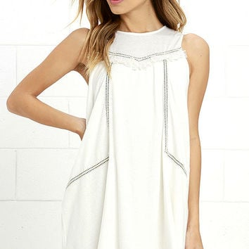 Moon River Coastal Tour Ivory Swing Dress