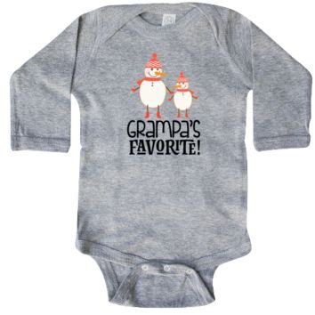 Cute Grampa's favorite grandchild Long Sleeve Creeper outfit with Christmas holiday snowmen for grandkids from Grandpa. $21.99 www.personalizedfamilytshirts.com