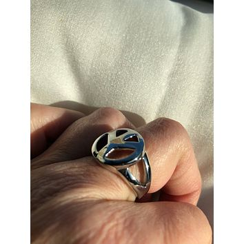Vintage 1970's Peace Sign stainless steel band Ring
