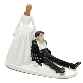 Humor Marriage Funny Polyresin Figurine Wedding Cake Decor Bride Groom Decor = 1929392452