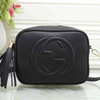 """Gucci"" Trending Women All-match Letter Logo Embossed Single Shoulder Messenger Bag Solid Color Tassel Zip Small Square Bag Black G"