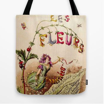 Le Fleurs Vintage Botanical Tote Bag - 18th Century vintage print - garden bag - book bag - carry-all bag