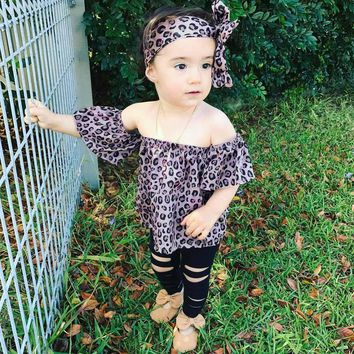 Newborn Kids Baby Girls Outfits Clothes Leopard T-shirt Tops+Pants+Headband Set