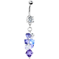 Handcrafted Austrian Crystal Blue Amethyst CASCADING Drop Belly Ring | Body Candy Body Jewelry