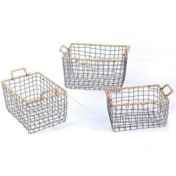 Set of 3 Iron Wire and Rope Handle Baskets
