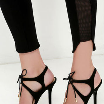 Forever Young Black Lace-Up Heels