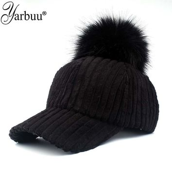 Trendy Winter Jacket [YARBUU]baseball cap 2017 Solid Color Corduroy Winter Warm Baseball caps for women Faux fur ball cap Leisure Casual Snapback hat AT_92_12