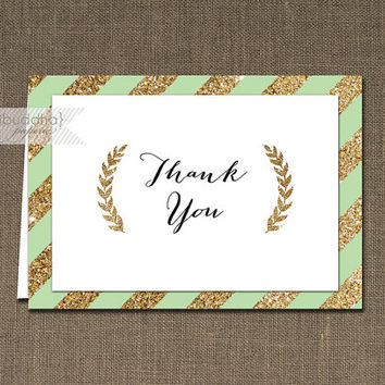 Mint & Gold Glitter Thank You Card Mint Green Black Script INSTANT DOWNLOAD Folded Note Notecard Blank Inside Digital or Printed - Courtney