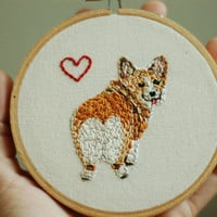 "Hand Embroidered Corgi Love. Custom 4"" Embroidery Hoop Art. Hand Stitched Fiber Art. Hand Made By Hoopla."