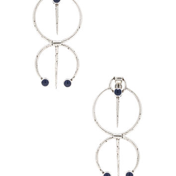 Saint Laurent Beaded Tribal Earrings in Oxidized Silver & Cobalt Blue | FWRD