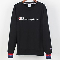 CHAMPION autumn and winter tide brand round neck long sleeve embroidery letter sweater Black