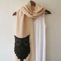 Beige Owl Scarf, 2014 Trend,Winter scarves, Fashion Accessories, Women Scarf, Gift İdeas