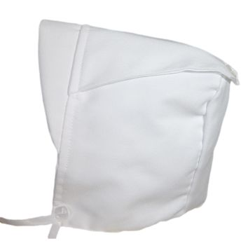 Handmade White Gabardine Brimmed Hat with a Back Button (Infant Boys 6 - 12 months)