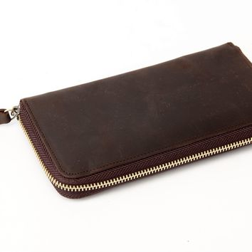BLUESEBE MEN HANDMADE GENUINE LEATHER LONG WALLET WITH ZIPPER B-200DB